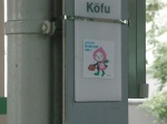 Peach-chan Mascot Sticker at Kofu Station