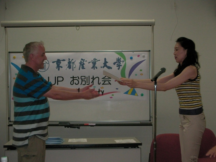 Receiving my Certificate from Taniyama-sensei